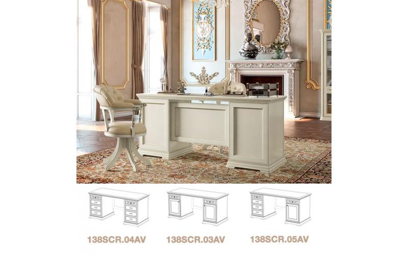 Rašomasis stalas Torriani Avorio ufficio 180 cm (su spintelėmis ir stalčiais)